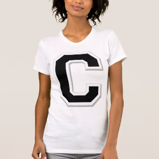 Spell it Out Initial Letter C Black Women's cami Tee Shirt