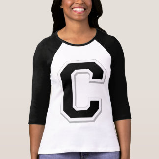 Spell it Out Initial Letter C Black Women's Raglan Shirt