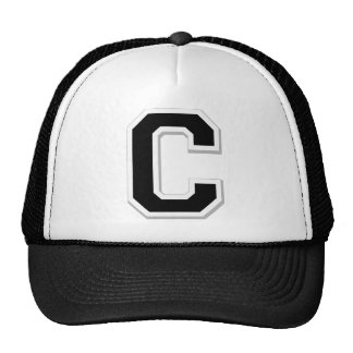 Spell it Out Initial Letter C in Black Ball Cap Trucker Hat