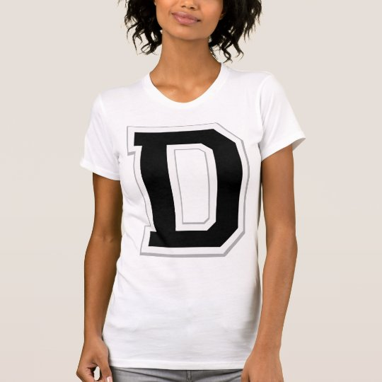 Spell it Out Initial Letter D Black Women's Tee
