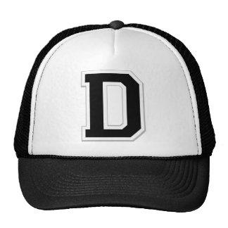 Spell it Out Initial Letter D in Black Ball Cap Trucker Hat
