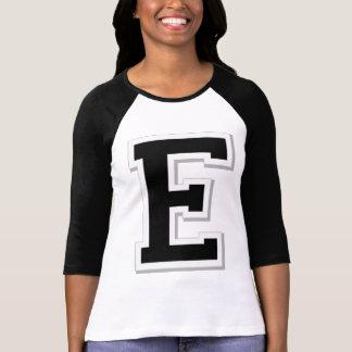 Spell it Out Initial Letter E Black Baseball shirt