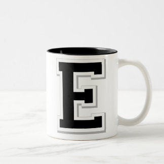 Spell it Out Initial Letter E Black Coffee Mug