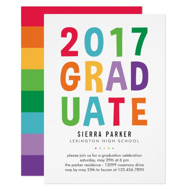 Spelled Out Fun Graduation Party Invitation