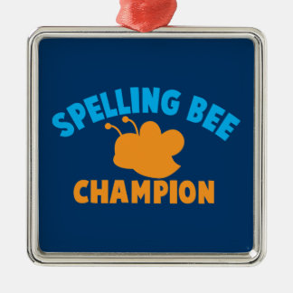 Spelling Bee Champion Square Metal Christmas Ornament