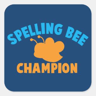 Spelling Bee Champion Square Sticker