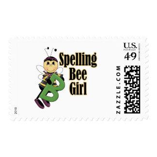spelling bee girl bumble bee cartoon postage stamps