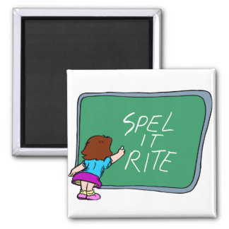 Spelling Lessons On Chalkboard 2 Inch Square Magnet