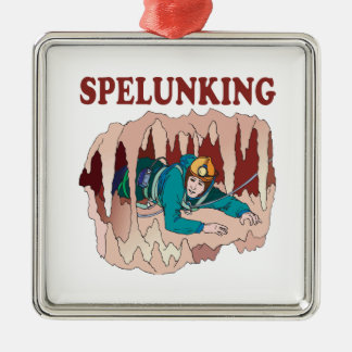 Spelunking 3 metal ornament