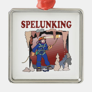 Spelunking 5 metal ornament