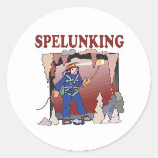 Spelunking 5 round sticker