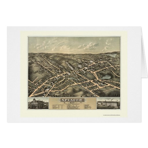 Spencer, MA Panoramic Map - 1877 Greeting Cards