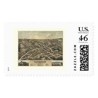 Spencer MA Panoramic Map - 1877 Postage Stamps