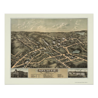 Spencer, MA Panoramic Map - 1877 Poster