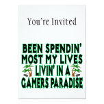 "Spending Lives In Gamers Paradise 5"" X 7"" Invitation Card"