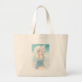 Spending The Rest Of Summer With Onee San Large Tote Bag