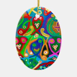 SPERM Dance - Sensual Artist Imagination Double-Sided Oval Ceramic Christmas Ornament