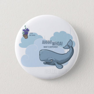 Sperm Whale and Bowl of Petunias Pinback Button