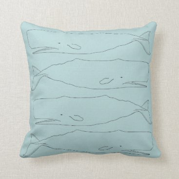 Beach Themed Sperm whale sketch throw pillow