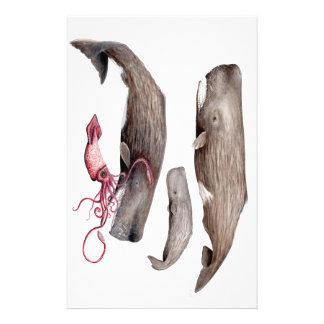 Sperm whale trio stationery