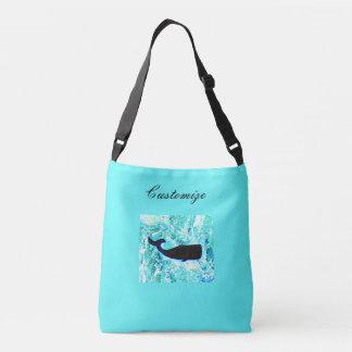 sperm whales design blue tote bag