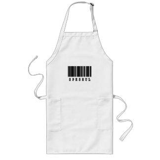 speshul barcode design aprons