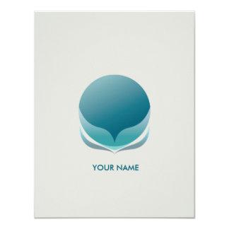 SPHERICAL FLOWER COMPLIMENT CARD BLUE