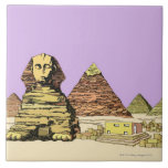 Sphinx and a Pyramid Ceramic Tile