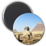 Sphinx and Pyramid 2 Inch Round Magnet