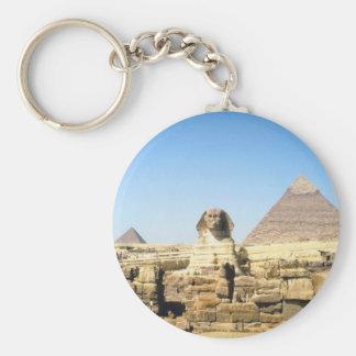 Sphinx and Pyramid Basic Round Button Keychain