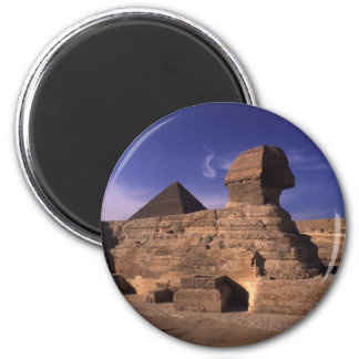 Sphinx and Pyramids at Giza Cairo Egypt 2 Inch Round Magnet