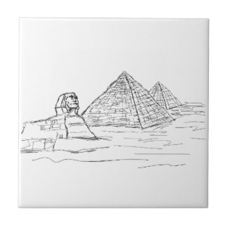 sphinx and pyramids of Egypt Tile