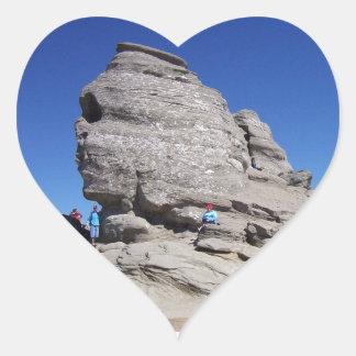 Sphinx from Bucegi Mts Romania cool megalith Heart Sticker