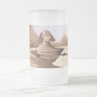 Sphinx in front of the pyramids frosted glass beer mug