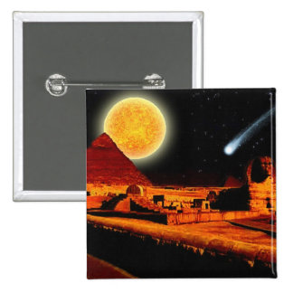 Sphinx Moon over Egyptian Giza Pyramids Art Gift Pinback Button