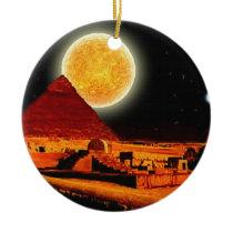 Sphinx & Moon over Egyptian Giza Pyramids Art Gift Ceramic Ornament
