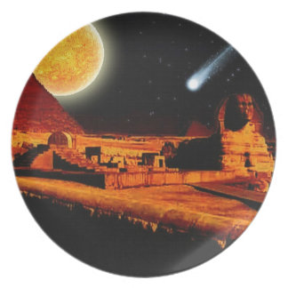 Sphinx & Moon over Egyptian Giza Pyramids Art Gift Dinner Plate