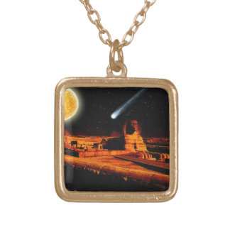 Sphinx & Moon over Egyptian Giza Pyramids Art Gift Gold Plated Necklace