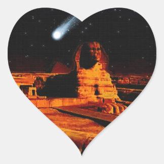 Sphinx & Moon over Egyptian Giza Pyramids Art Gift Heart Sticker