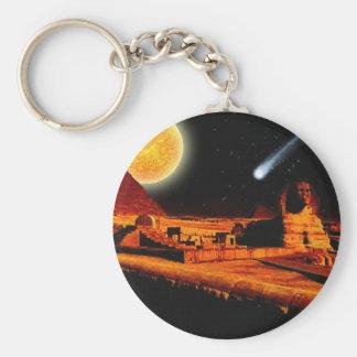Sphinx & Moon over Egyptian Giza Pyramids Art Gift Keychain