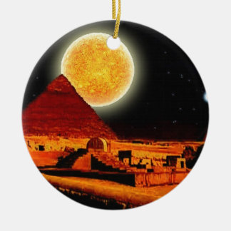 Sphinx & Moon over Egyptian Giza Pyramids Art Gift Double-Sided Ceramic Round Christmas Ornament