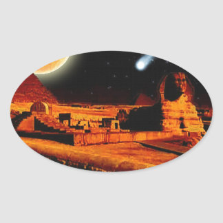 Sphinx & Moon over Egyptian Giza Pyramids Art Gift Oval Sticker