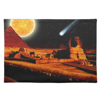 Sphinx & Moon over Egyptian Giza Pyramids Art Gift Placemat