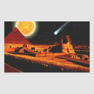Sphinx & Moon over Egyptian Giza Pyramids Art Gift Rectangular Sticker