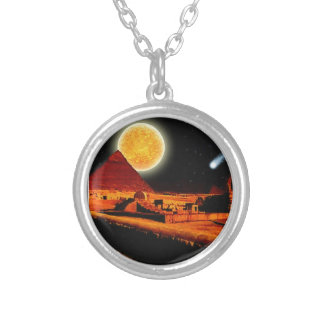 Sphinx & Moon over Egyptian Giza Pyramids Art Gift Silver Plated Necklace