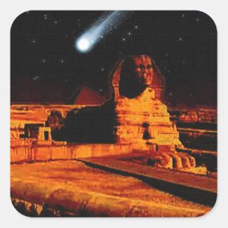 Sphinx & Moon over Egyptian Giza Pyramids Art Gift Square Sticker