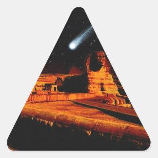 Sphinx & Moon over Egyptian Giza Pyramids Art Gift Triangle Sticker