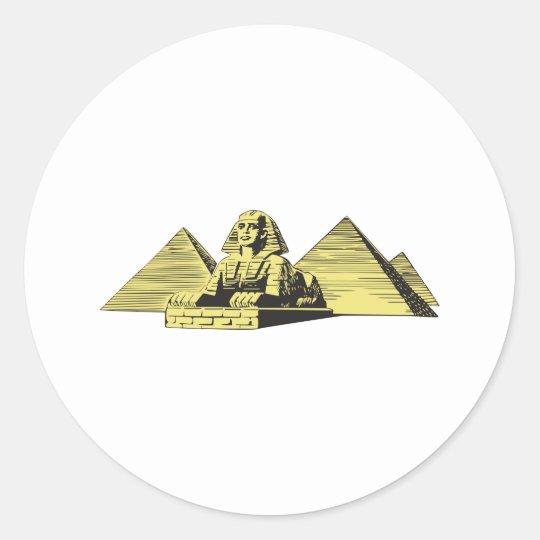 Sphinx Pyramid Egypt Classic Round Sticker
