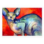 Sphinx sphynx cat #6 painting postcard