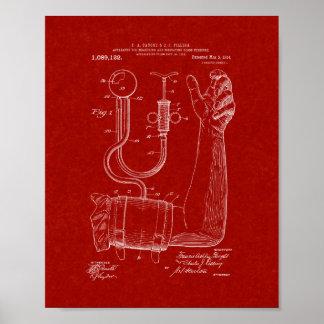 Sphygmomanometer Patent del doctor - rojo de Póster